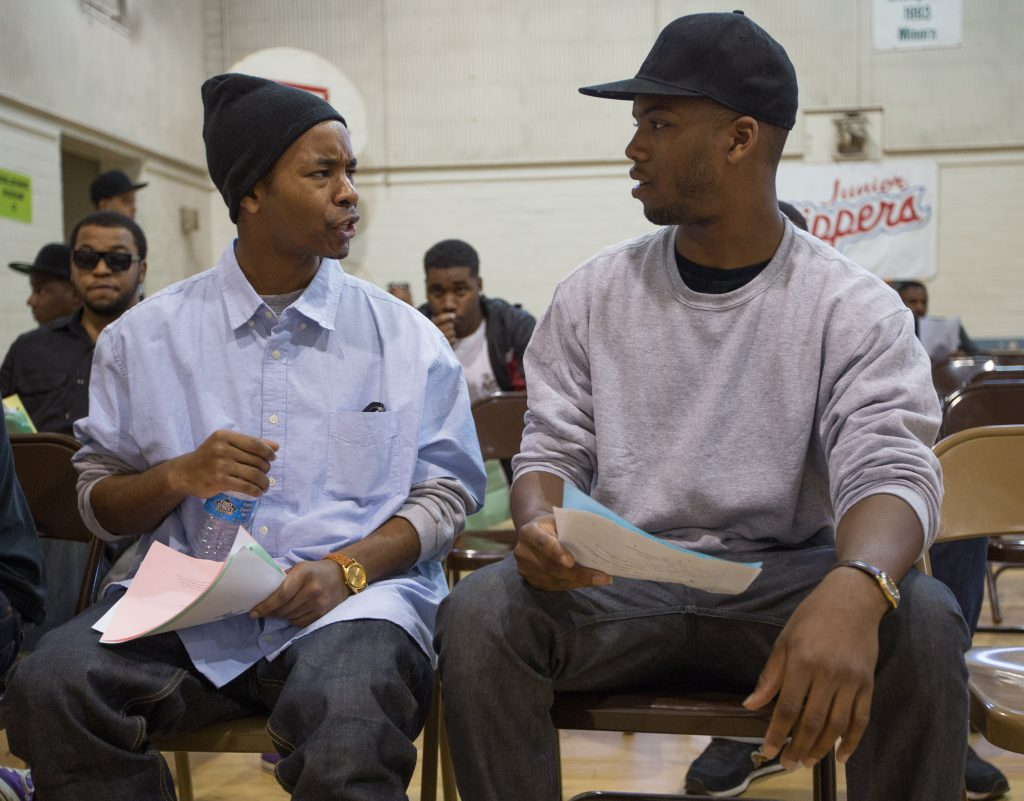 Tristen J. Winger, 27, of South L.A. and Jordan McCovey, 22, of Victorville rehearse their lines.