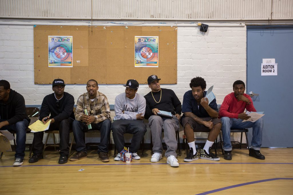 "The waiting line for a second table read with the ""Straight Outta Compton"" casting crew."