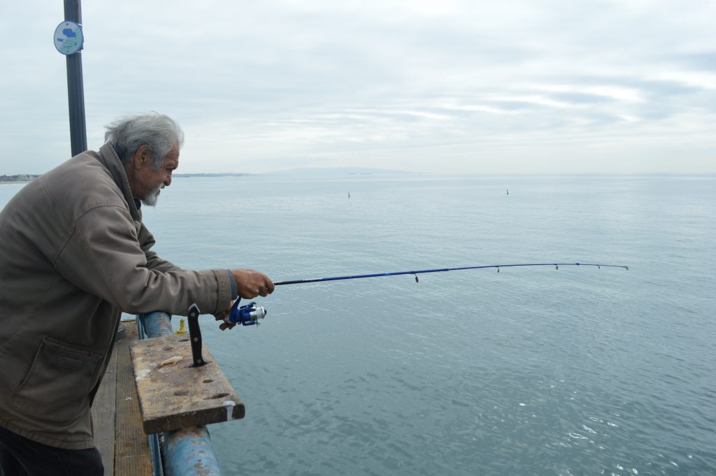 photos fishing off the santa monica pier for the curious