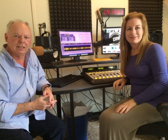 KCRW Santa Barbara host Lisa Osborn in studio with popular local columnist, Richard Mineards, who pens the weekly