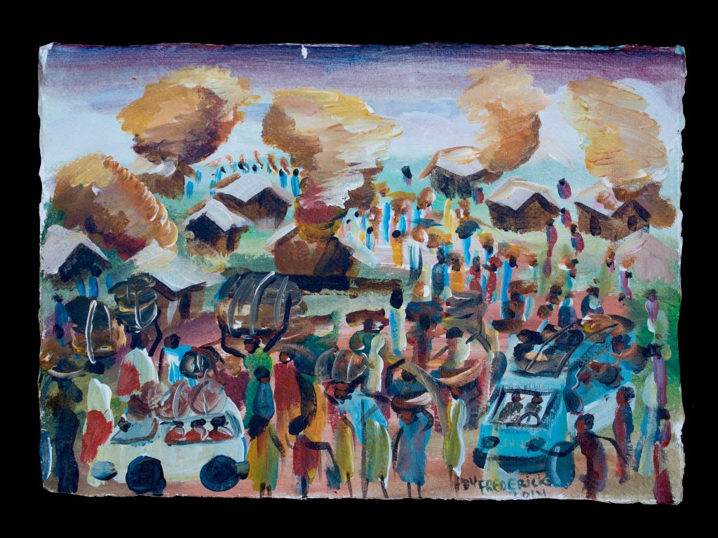 """100 Days"" ""During the 100 day genocide, many people had to flee the country. Houses were burning, people had to run with just what they could carry."" -Frederick Ndabarmiye Acrylic - Rwanda - 2014"