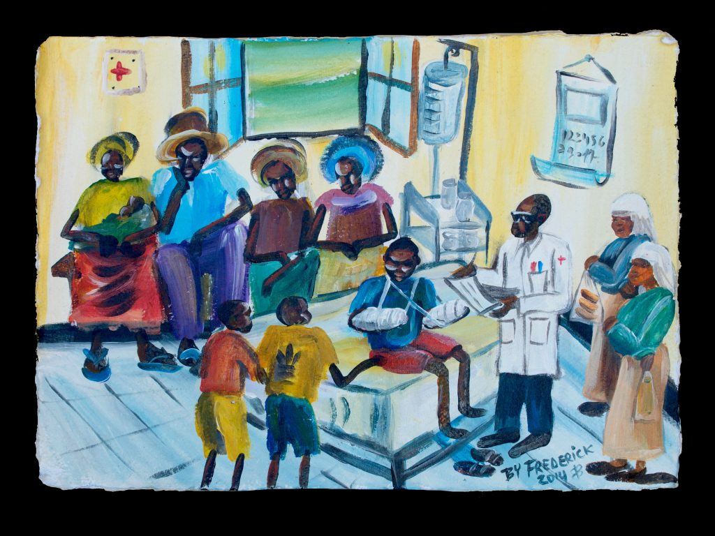 """Waking Up"" ""After six months in a coma, I woke up. People were shocked to see that I was still alive."" -Frederick Ndabarmiye Acrylic - Rwanda - 2014"