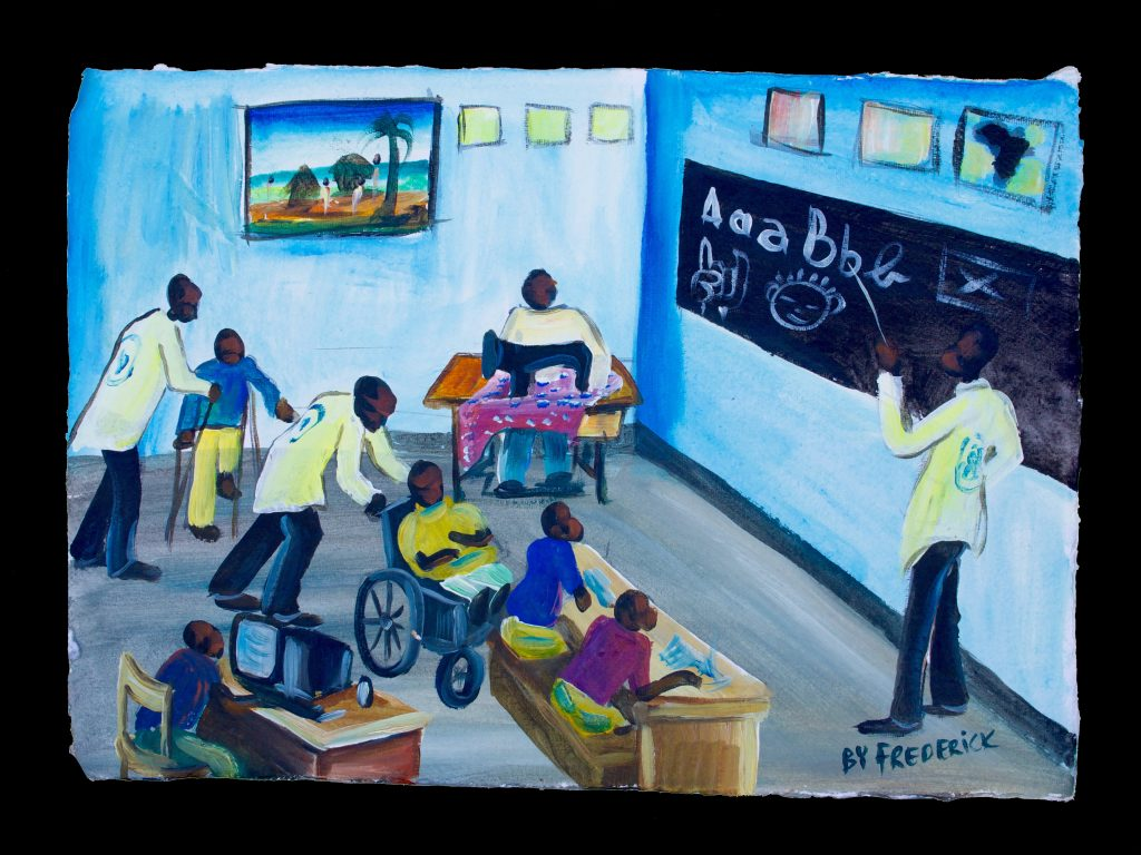 """Educating All"" ""At the Ubumwe Community Center, we educate all, no matter what their disability. We teach them how to read, to sew, and to use computers. They learn that disability is not inability."" -Frederick Ndabarmiye Acrylic - Rwanda - 2014"