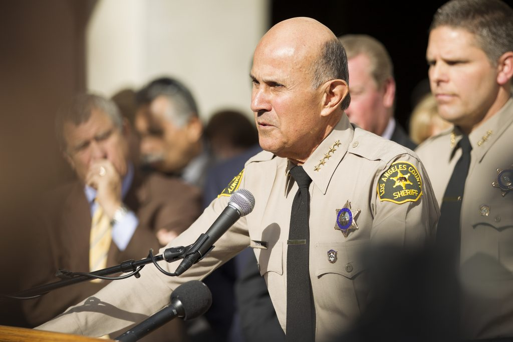 Then-Sheriff Lee Baca after announcing his retirement in January 2014. Photo by Scott L via Flickr.