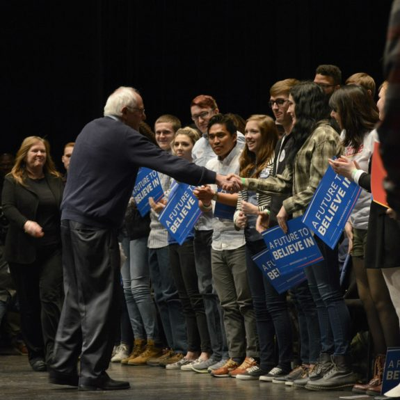 Alex Hanson Follow Bernie Sanders at ISU - 1/25/2016 U.S. Sen. Bernie Sanders, 2016 Democratic presidential candidate, shakes hands with attendees after a town hall at Iowa State University in Ames, Iowa on Monday, Jan. 25, 2016.