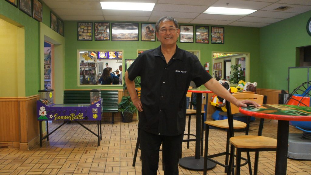 Albert Okura owns both the site of the original McDonalds restaurant in the United States and his own fast food chain in San Bernardino. He says a big increase in the minimum wage isn't needed in the community. Photo: Saul Gonzalez