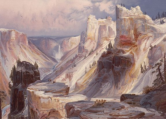 "Thomas Moran, ""Grand Canyon of the Yellowstone,"" chromolithographic reproduction of a watercolor sketch, as published in Ferdinand V. Hayden, The Yellowstone National Park, and the mountain regions of portions of Idaho, Nevada, Colorado and Utah. Boston, 1876. The Huntington Library, Art Collections, and Botanical Gardens."