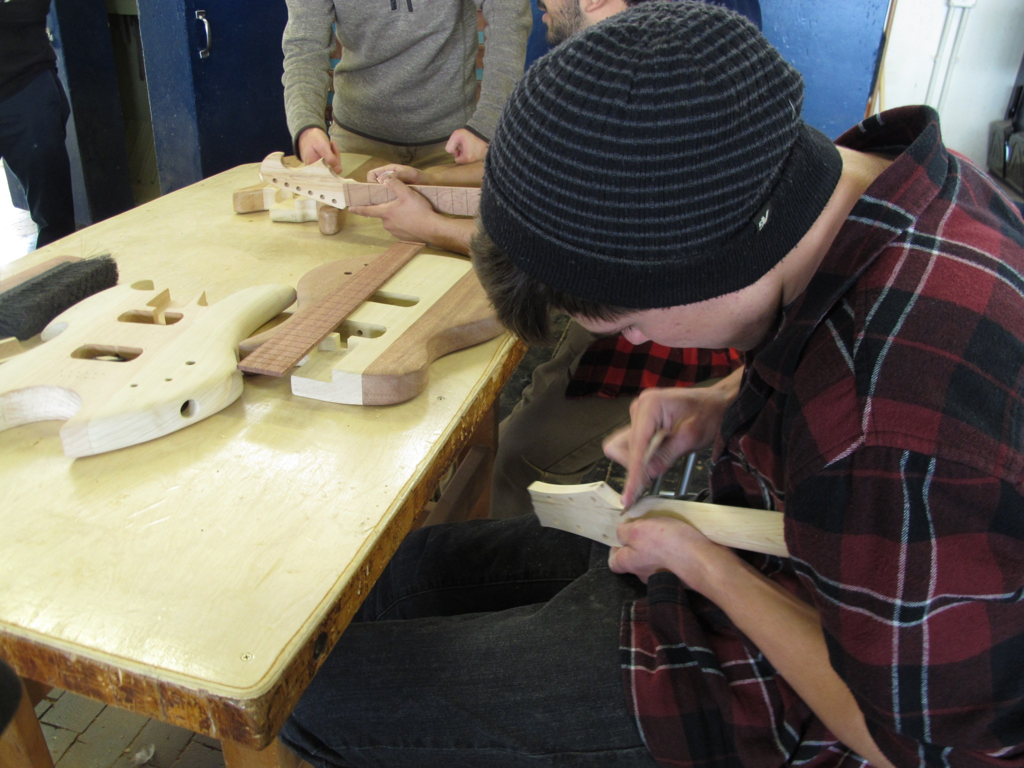 Student Cameron Shirley says sanding has been the biggest challenge of making his guitar in the STEM Guitar Project at Camarillo High School.