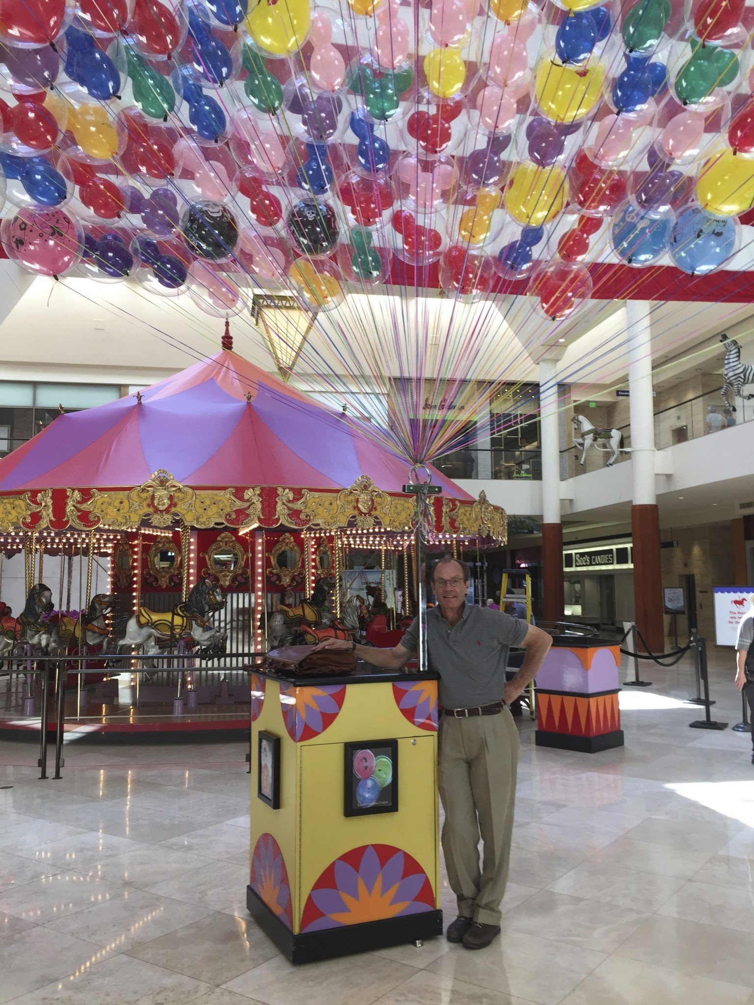 Treb Heining's balloon stand at South Coast Plaza