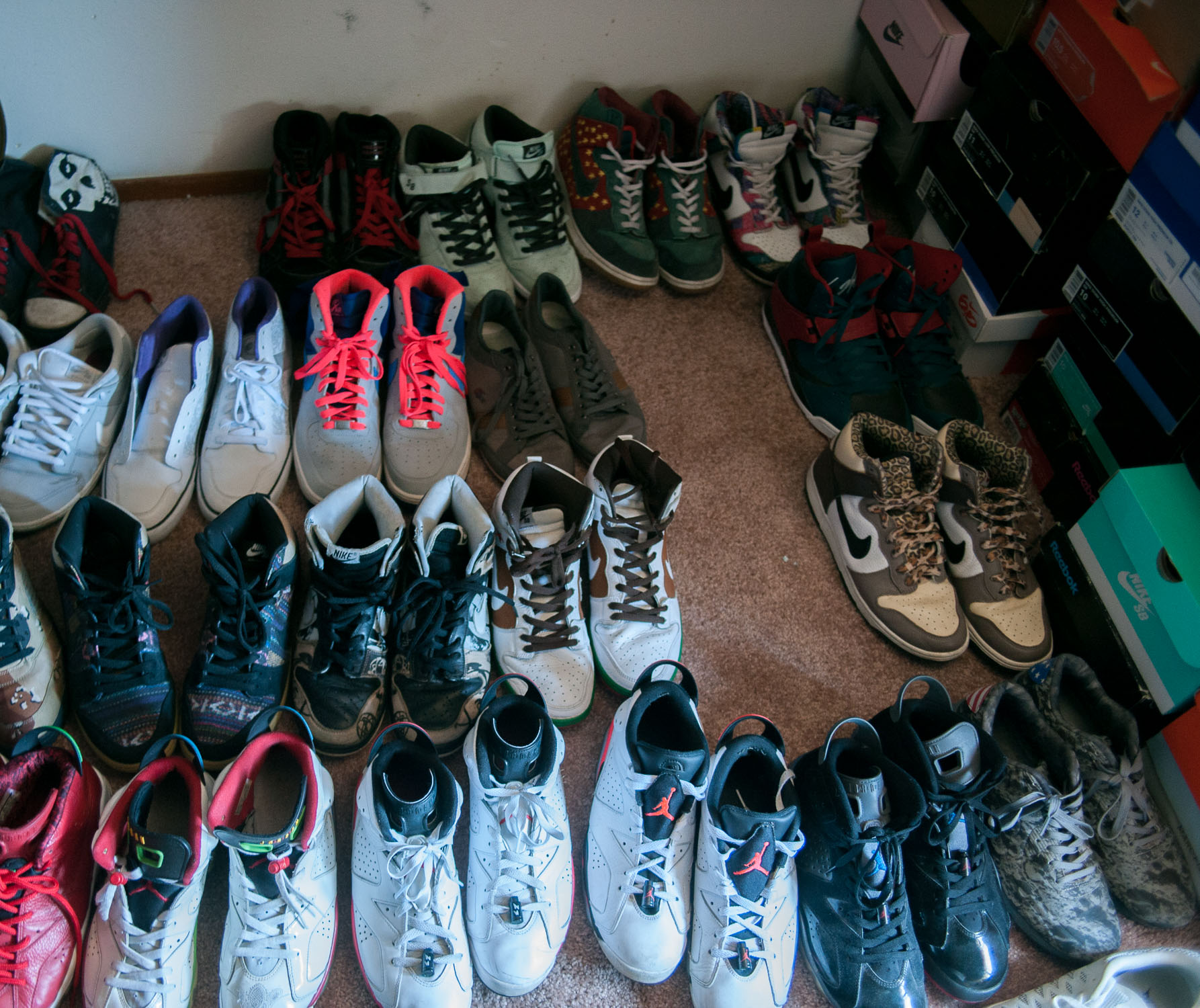 Malibu Ron's shoe collection, sans several pairs that are one-offs that only he owns.