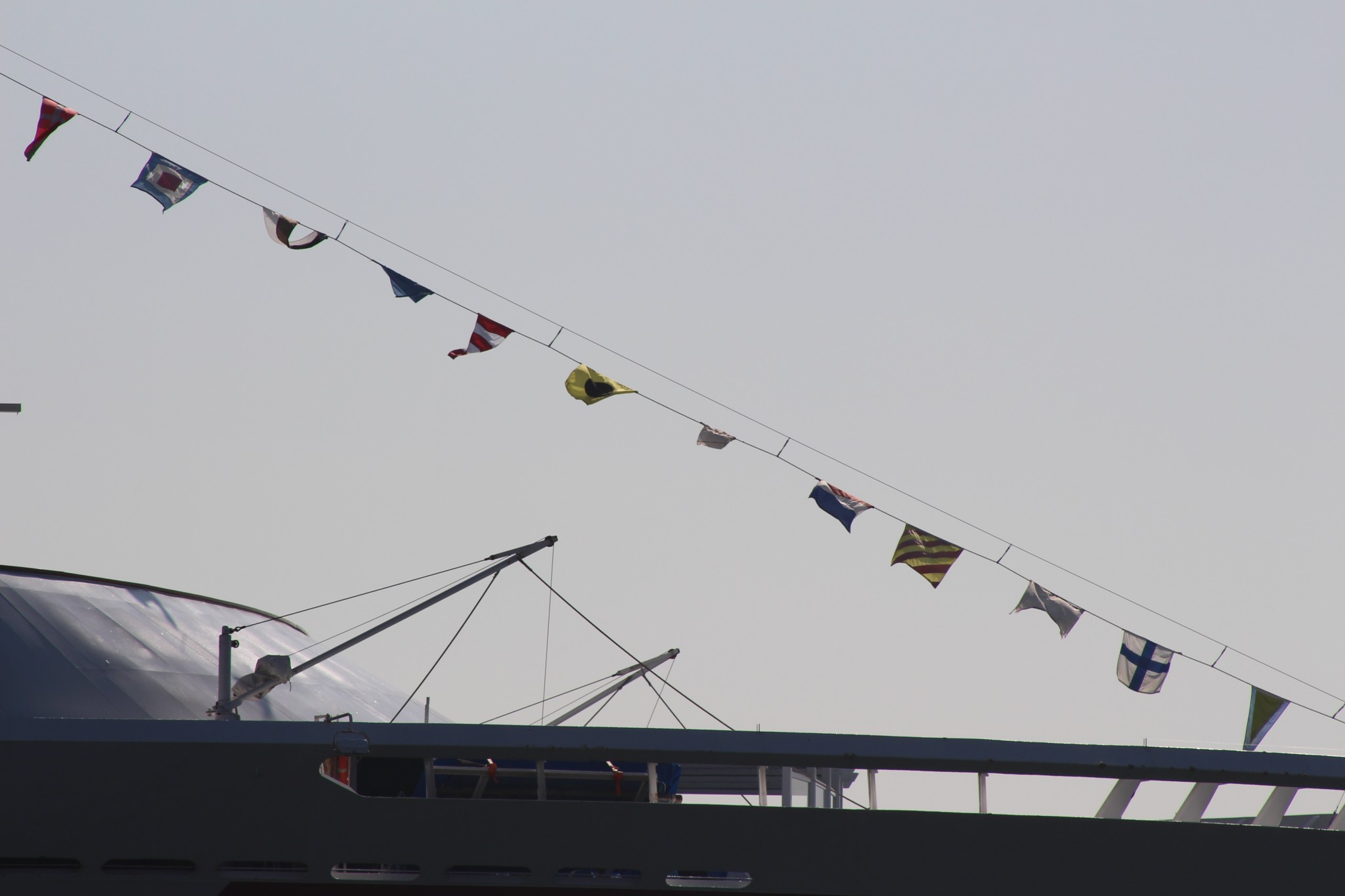 Foreign flags adorn a ship at the Port of Long Beach. Photo: Karen Foshay