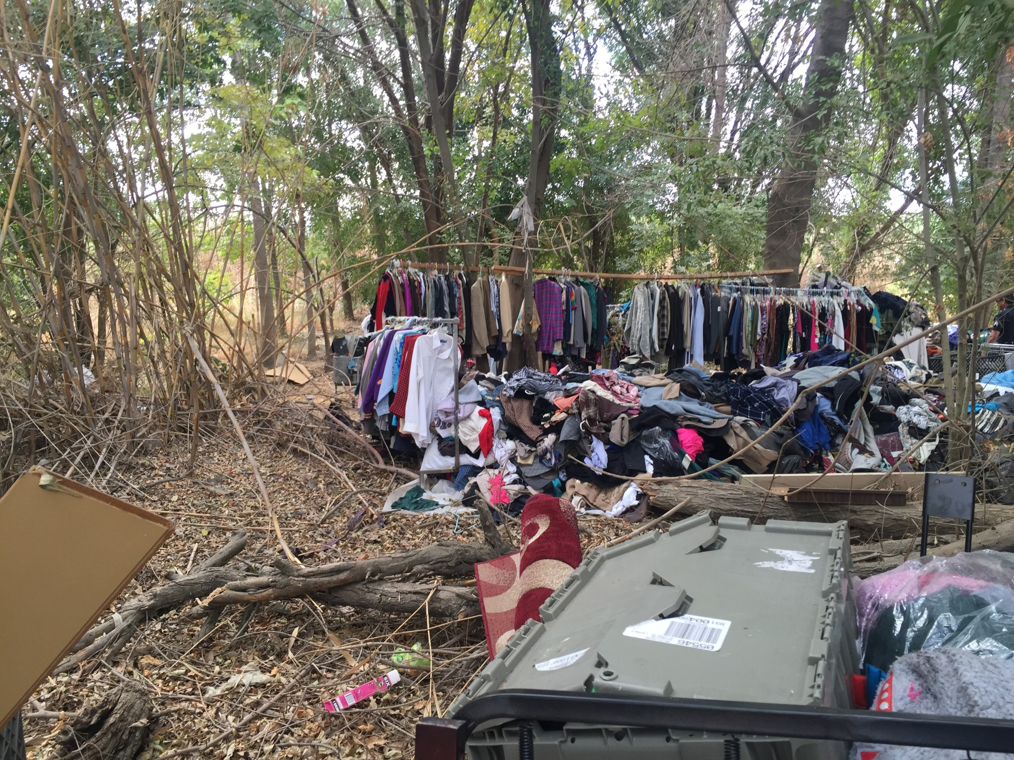 Elaborate homeless encampments in the San Fernando Valley's Sepulveda Basin. This is one of the areas that's been a focus for the LAPD's new homeless outreach teams. (Photo: Anna Scott)