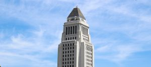 What happens on the upper floors of LA City Hall?