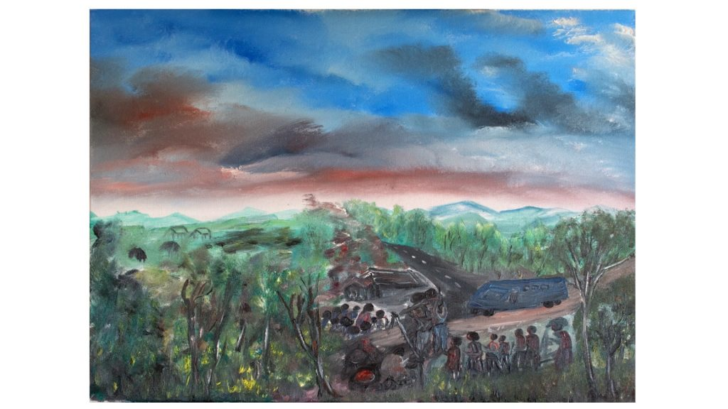 """""""Bariyeri - The Roadblock"""" """"I made this picture to show what happened to me in 1998. The Interhamwe stopped my bus, and made everyone get out so that they could kill them."""" -Frederick Ndabarmiye Oil - U.S.A. - 2014"""