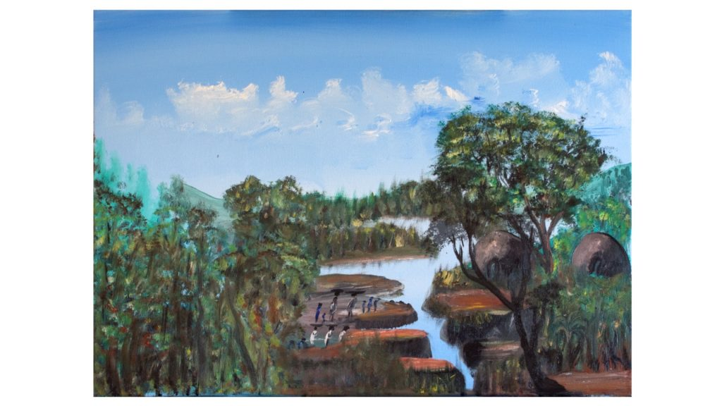 """Land of a Thousand Hills"" ""My country is full of green hills. We grow lots of coffee, tea, and bananas. This is also the home of the mountain gorillas."" -Frederick Ndabarmiye Oil - U.S.A. - 2014"