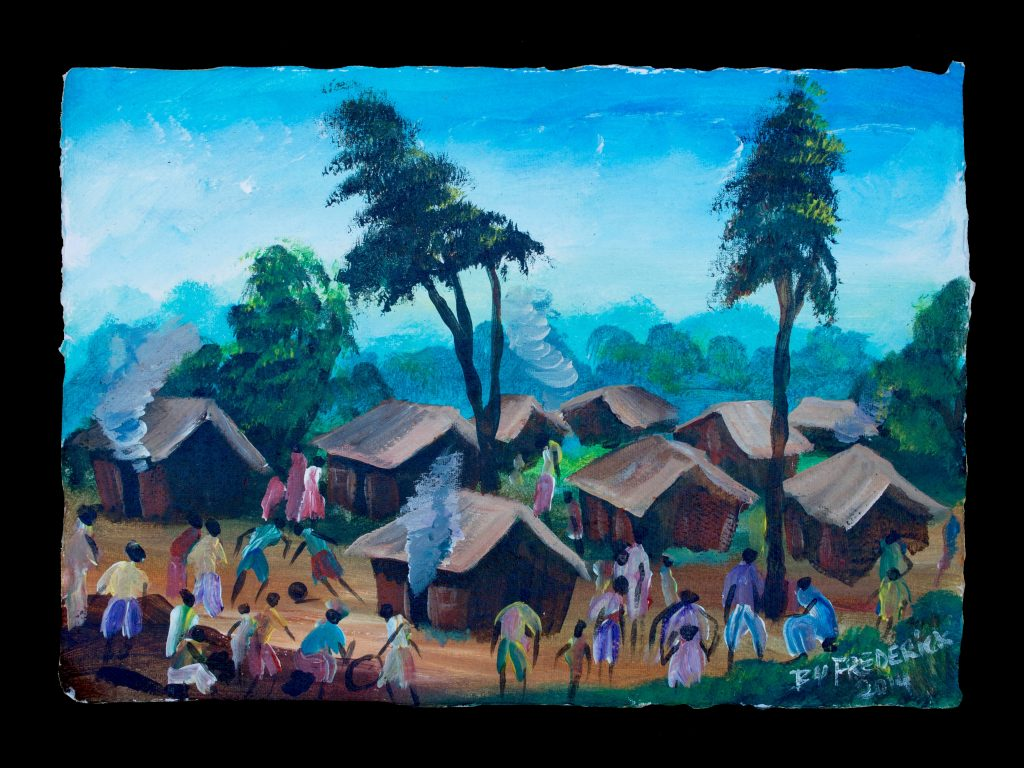 """Umudugudu"" ""This is umudugudu, kinyarwanda for my community. This is where I grew up. This is where I live."" -Frederick Ndabarmiye Acrylic - Rwanda - 2014"